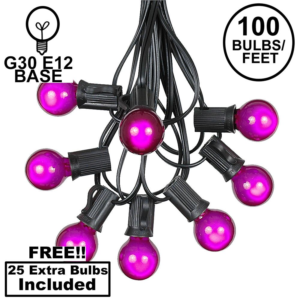 Picture of 100 G30 Globe String Light Set with Purple Satin Bulbs on Black Wire