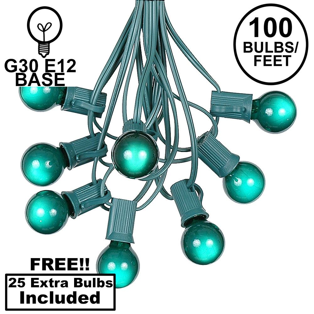 Picture of 100 G30 Globe String Light Set with Green Satin Bulbs on Green Wire