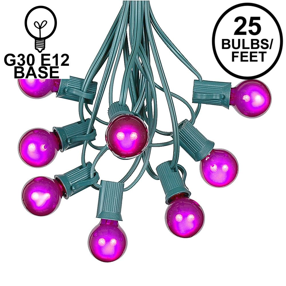 Picture of 25 G30 Globe Light String Set with Purple Satin Bulbs on Green Wire