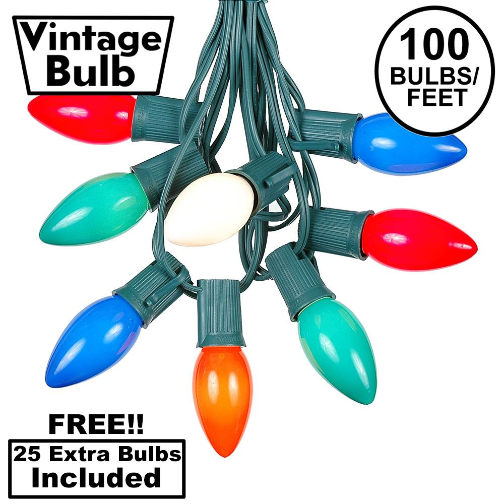 Picture of 100 C9 Ceramic Christmas Light Set - Assorted - Green Wire