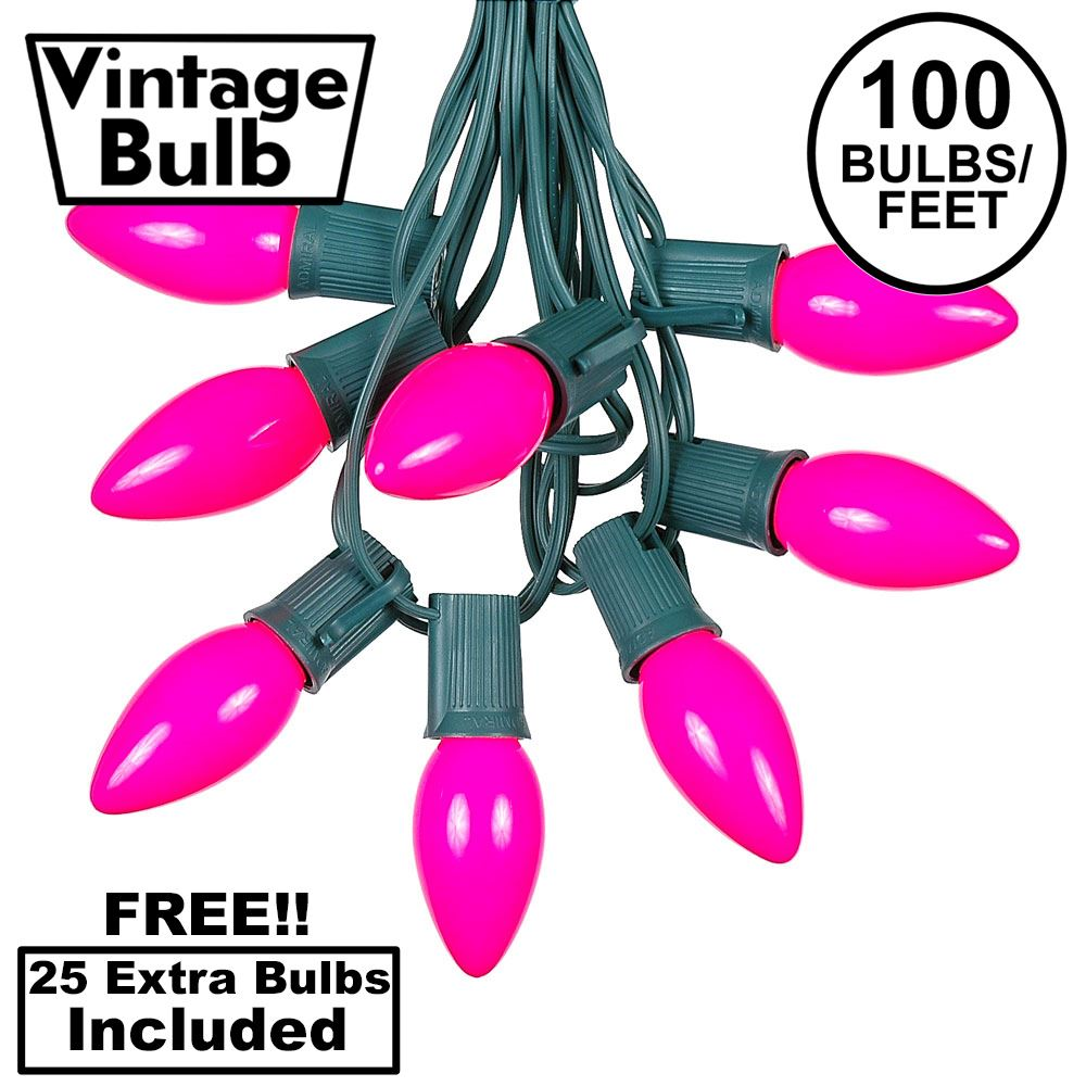 Picture of 100 C9 Ceramic Christmas Light Set - Pink - Green Wire