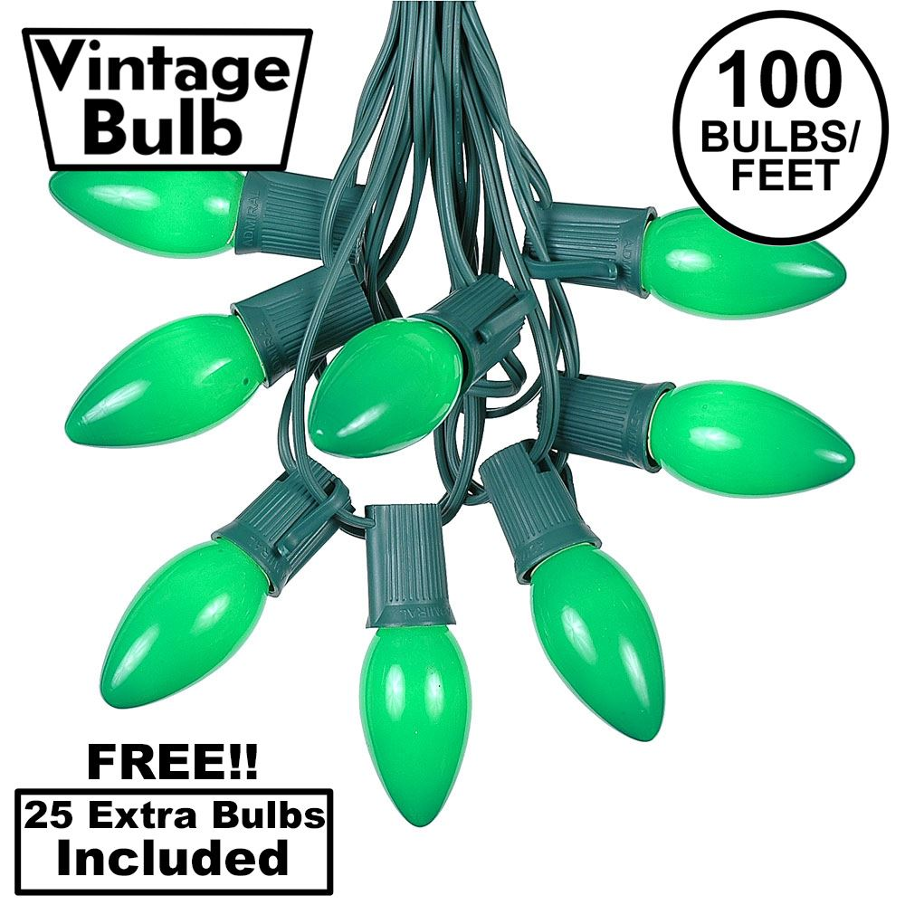 Picture of 100 C9 Ceramic Christmas Light Set - Green - Green Wire