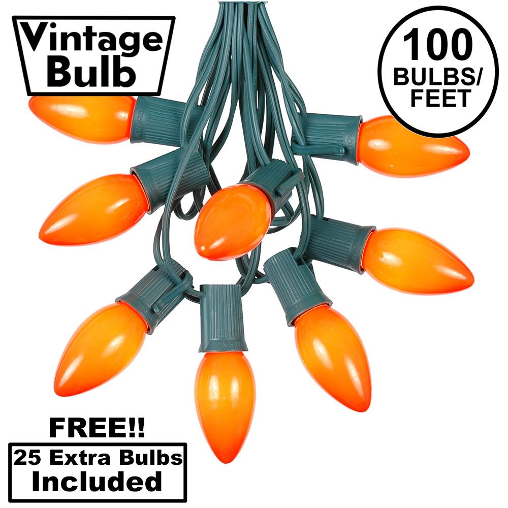 Picture of 100 C9 Ceramic Christmas Light Set - Orange - Green Wire