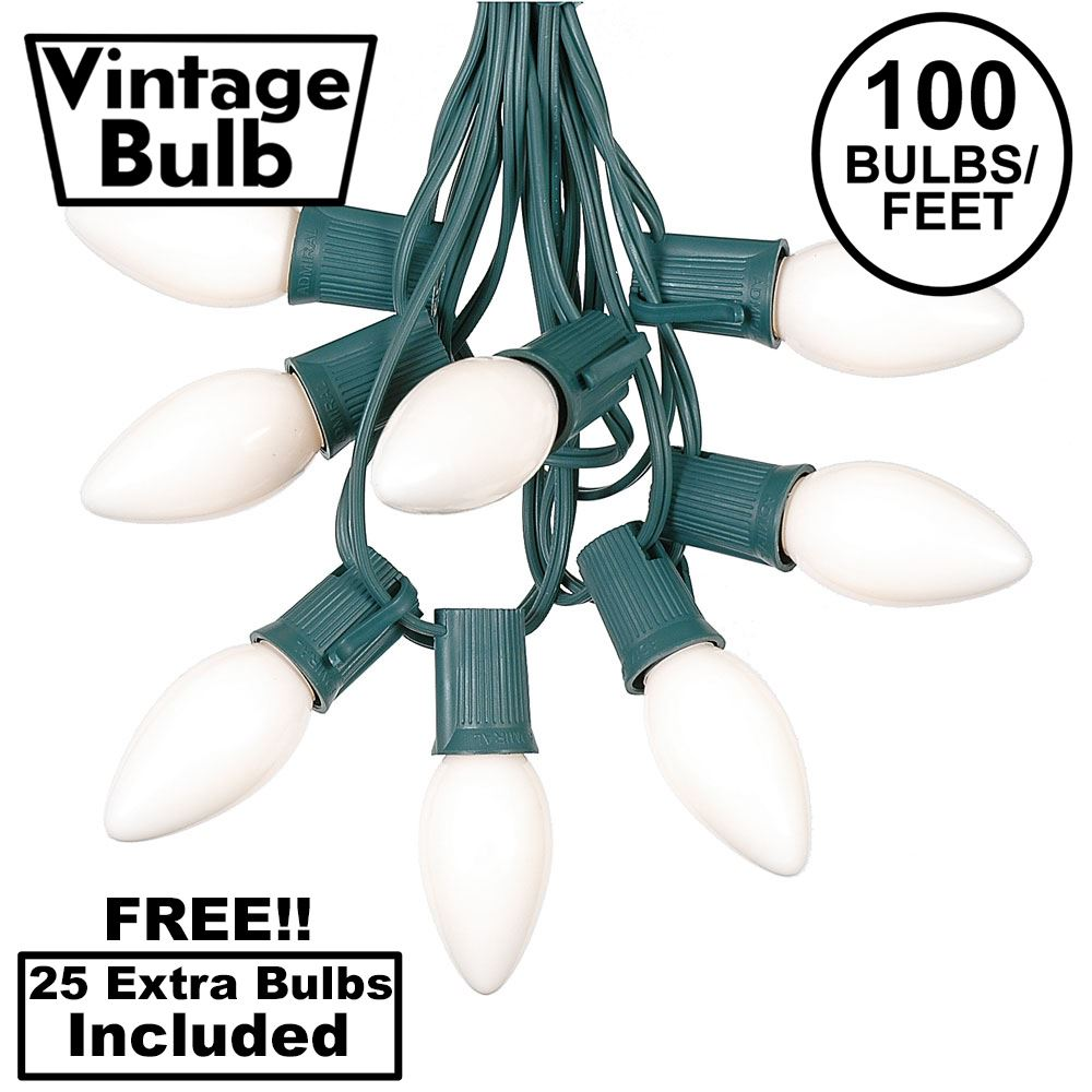 Picture of 100 C9 Ceramic Christmas Light Set - White - Green Wire