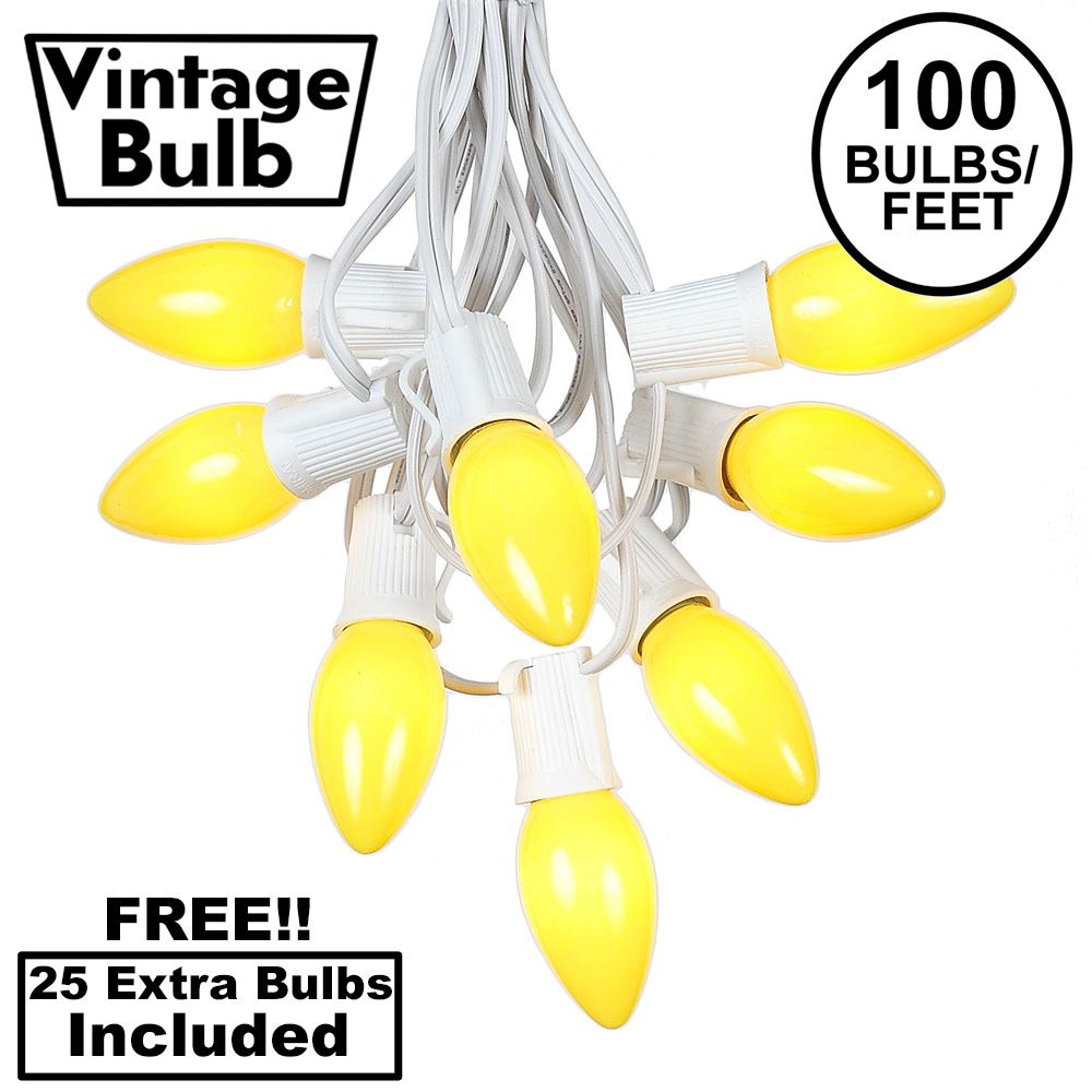 Picture of 100 C9 Ceramic Christmas Light Set - Yellow - White Wire