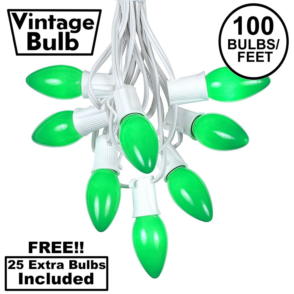 Picture of 100 C9 Ceramic Christmas Light Set - Green - White Wire