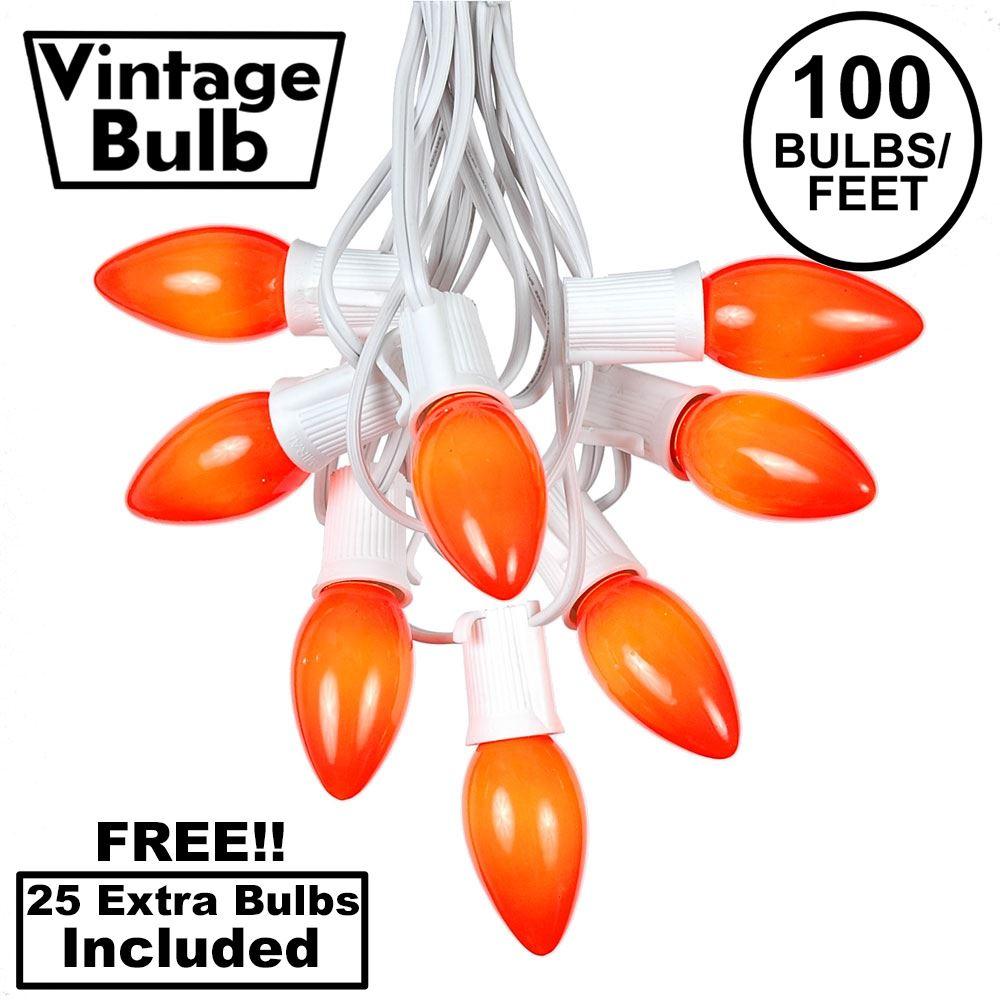 Picture of 100 C9 Ceramic Christmas Light Set - Orange - White Wire