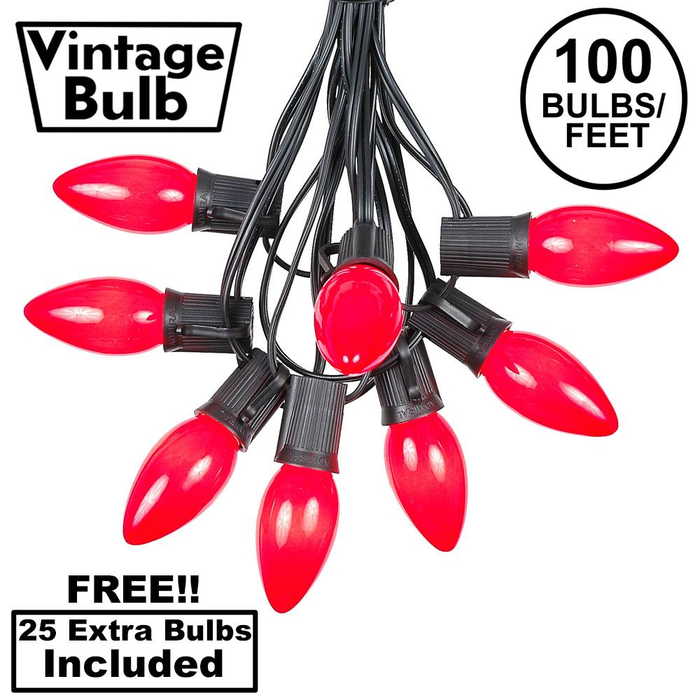 Picture of 100 C9 Ceramic Christmas Light Set - Red - Black Wire