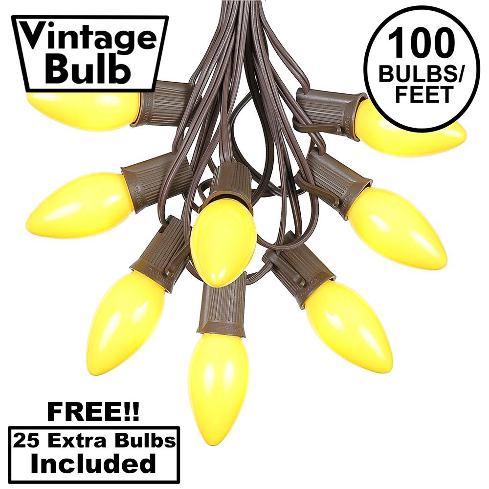 Picture of 100 C9 Ceramic Christmas Light Set - Yellow - Brown Wire