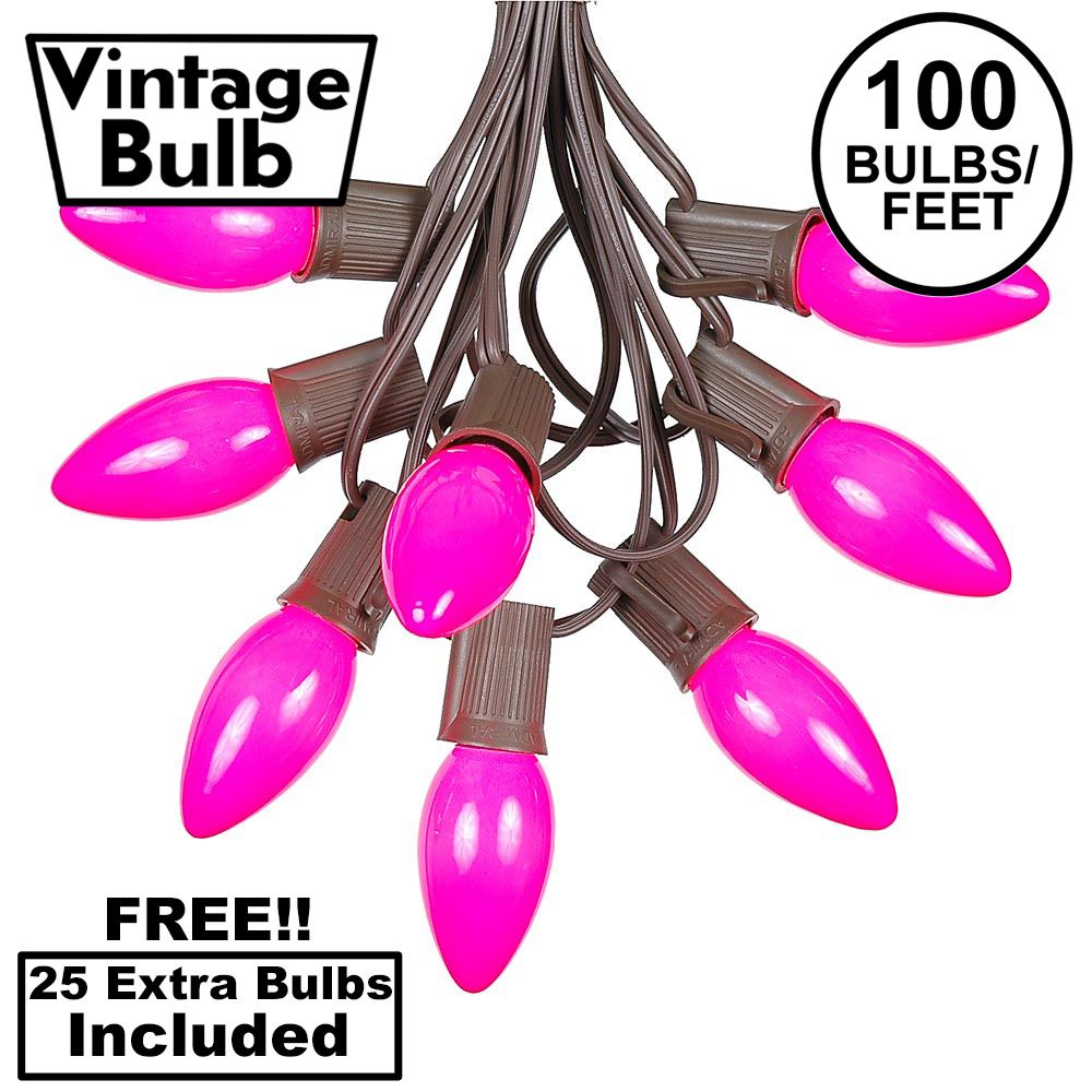 Picture of 100 C9 Ceramic Christmas Light Set - Pink - Brown Wire