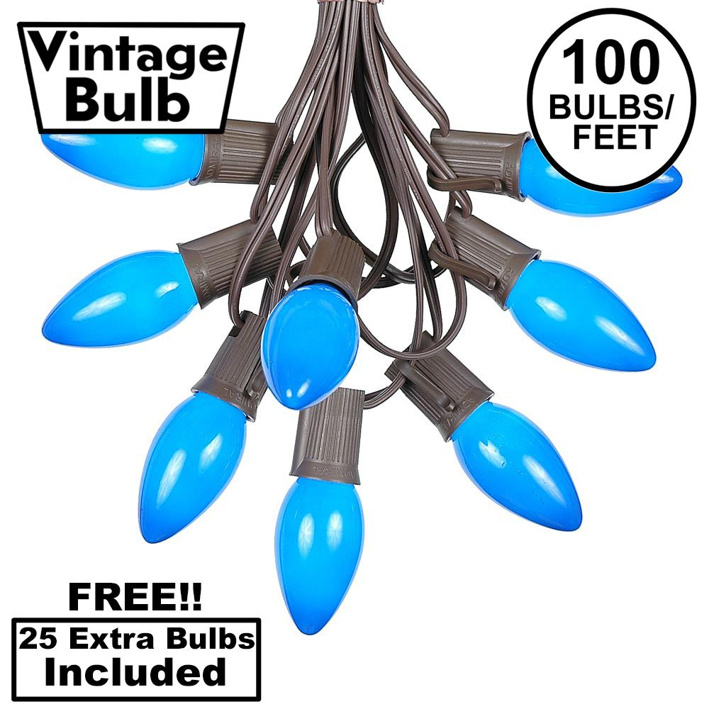 Picture of 100 C9 Ceramic Christmas Light Set - Blue - Brown Wire