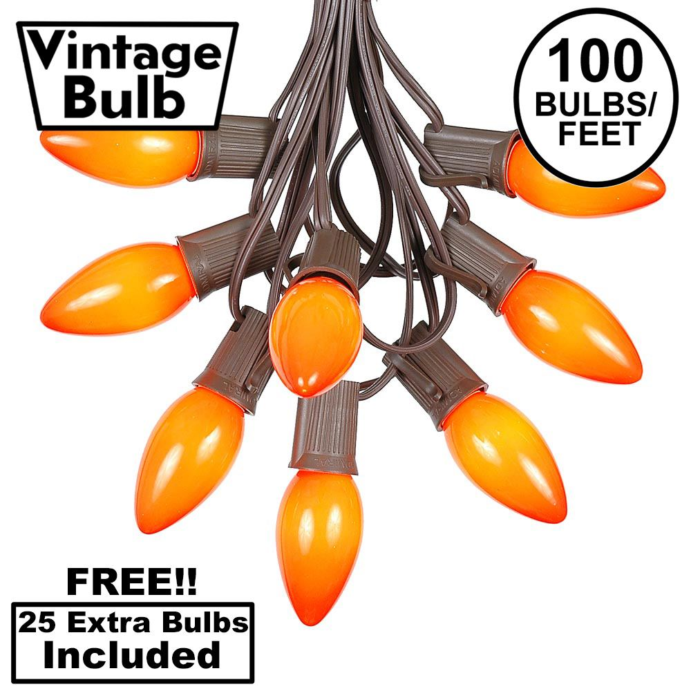 Picture of 100 C9 Ceramic Christmas Light Set - Orange - Brown Wire