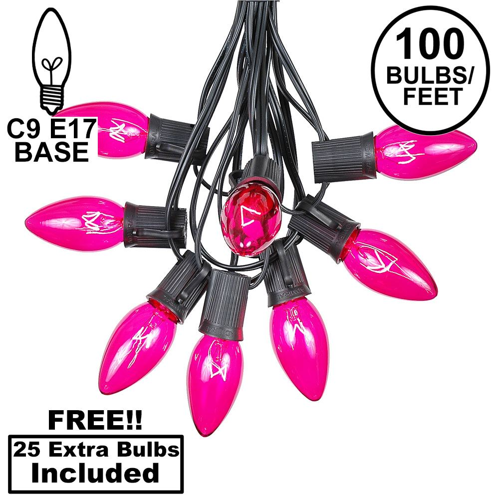 Picture of 100 C9 Christmas Light Set - Pink Bulbs - Black Wire