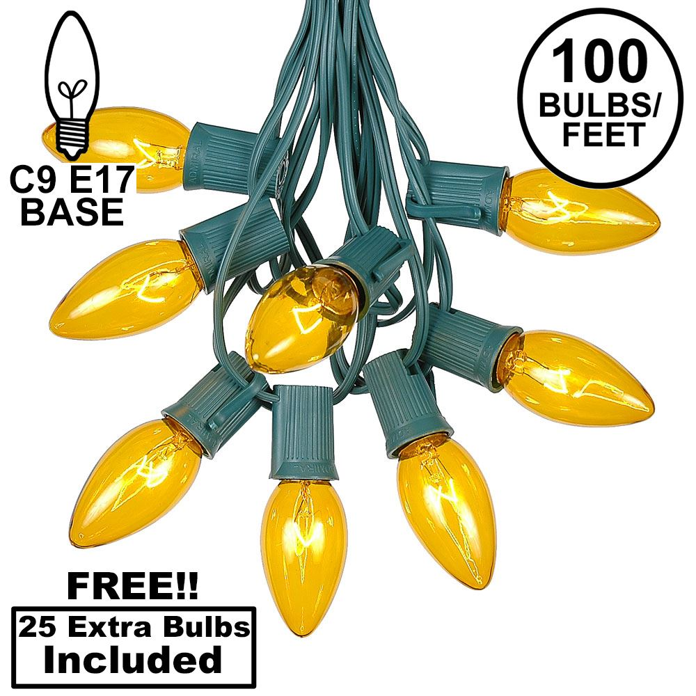 Picture of 100 C9 Christmas Light Set - Yellow Bulbs - Green Wire