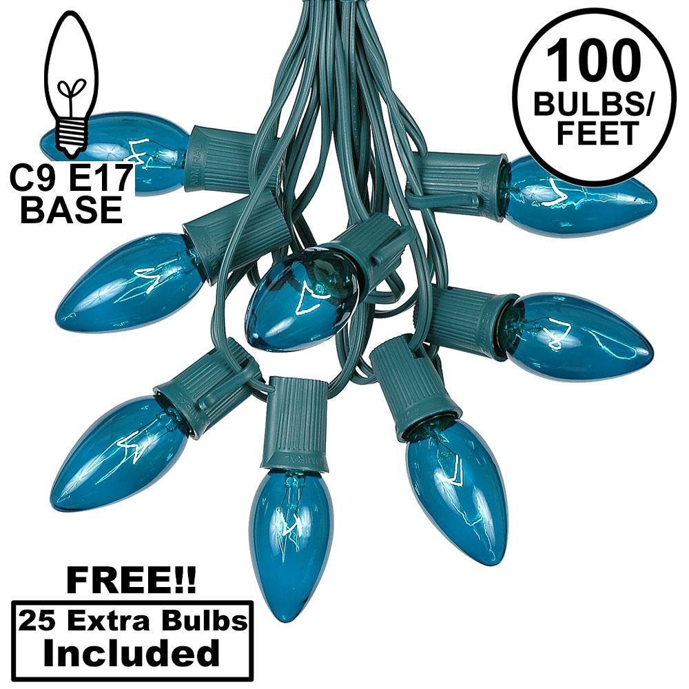 Picture of 100 C9 Christmas Light Set - Teal Bulbs - Green Wire