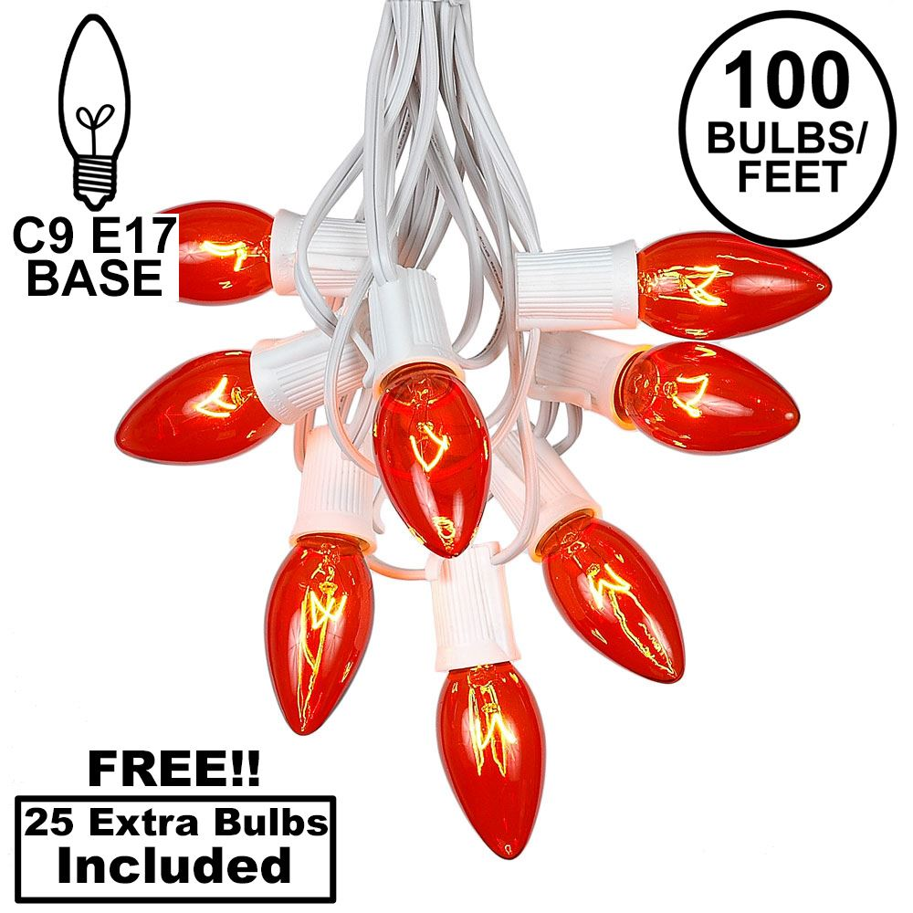 Picture of 100 C9 Christmas Light Set - Orange Bulbs - White Wire