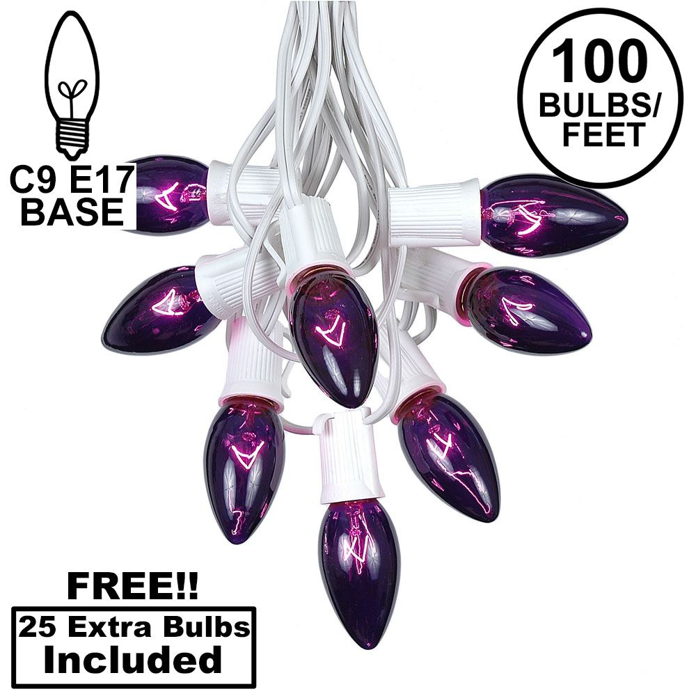 Picture of 100 C9 Christmas Light Set - Purple Bulbs - White Wire