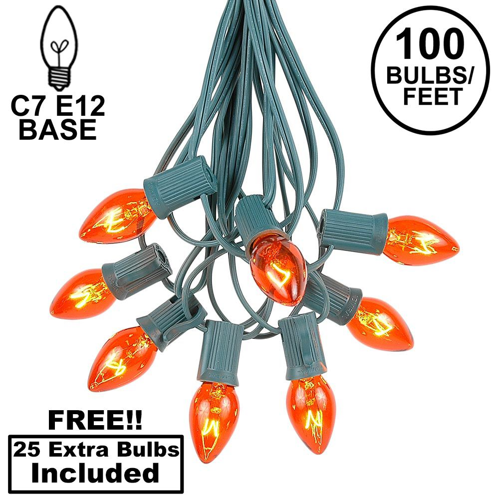 Picture of 100 C7 String Light Set with Orange Bulbs on Green Wire