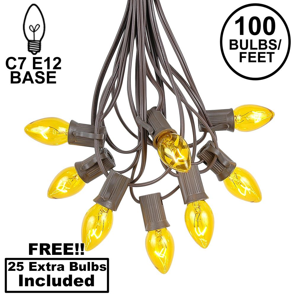 Picture of 100 C7 String Light Set with Yellow Bulbs on Brown Wire