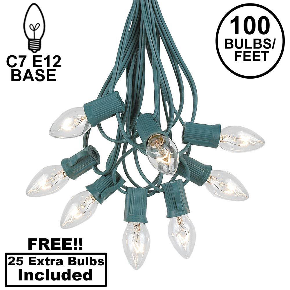 Picture of 100 C7 String Light Set with Clear Bulbs on Green Wire