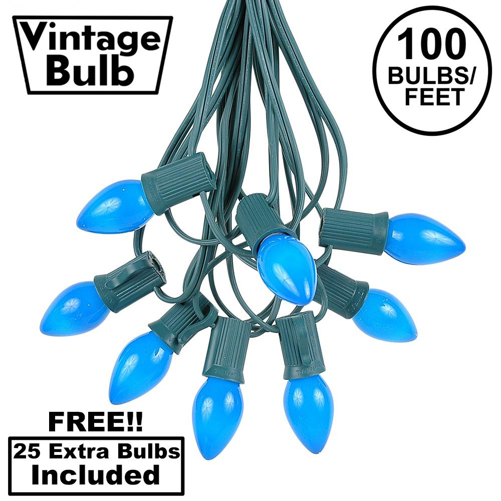 Picture of 100 C7 String Light Set with Blue Ceramic Bulbs on Green Wire
