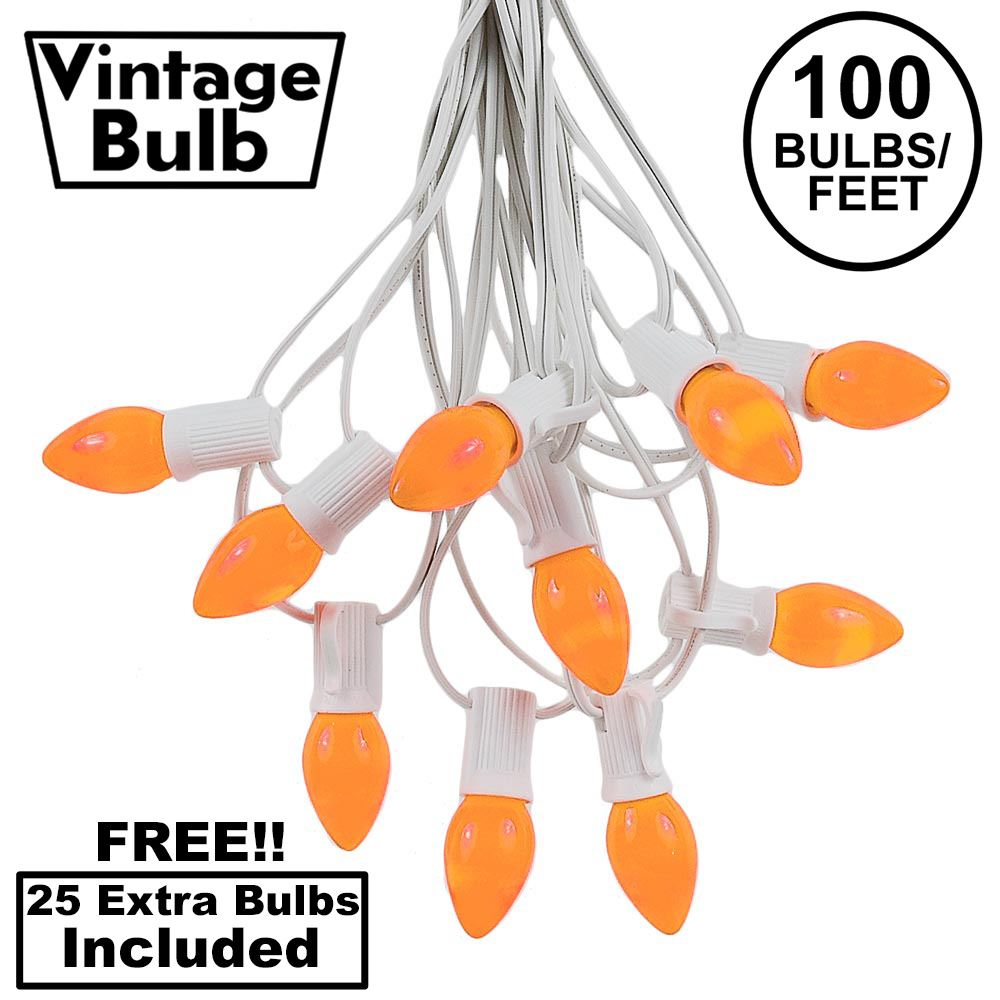 Picture of 100 C7 String Light Set with Orange Ceramic Bulbs on White Wire