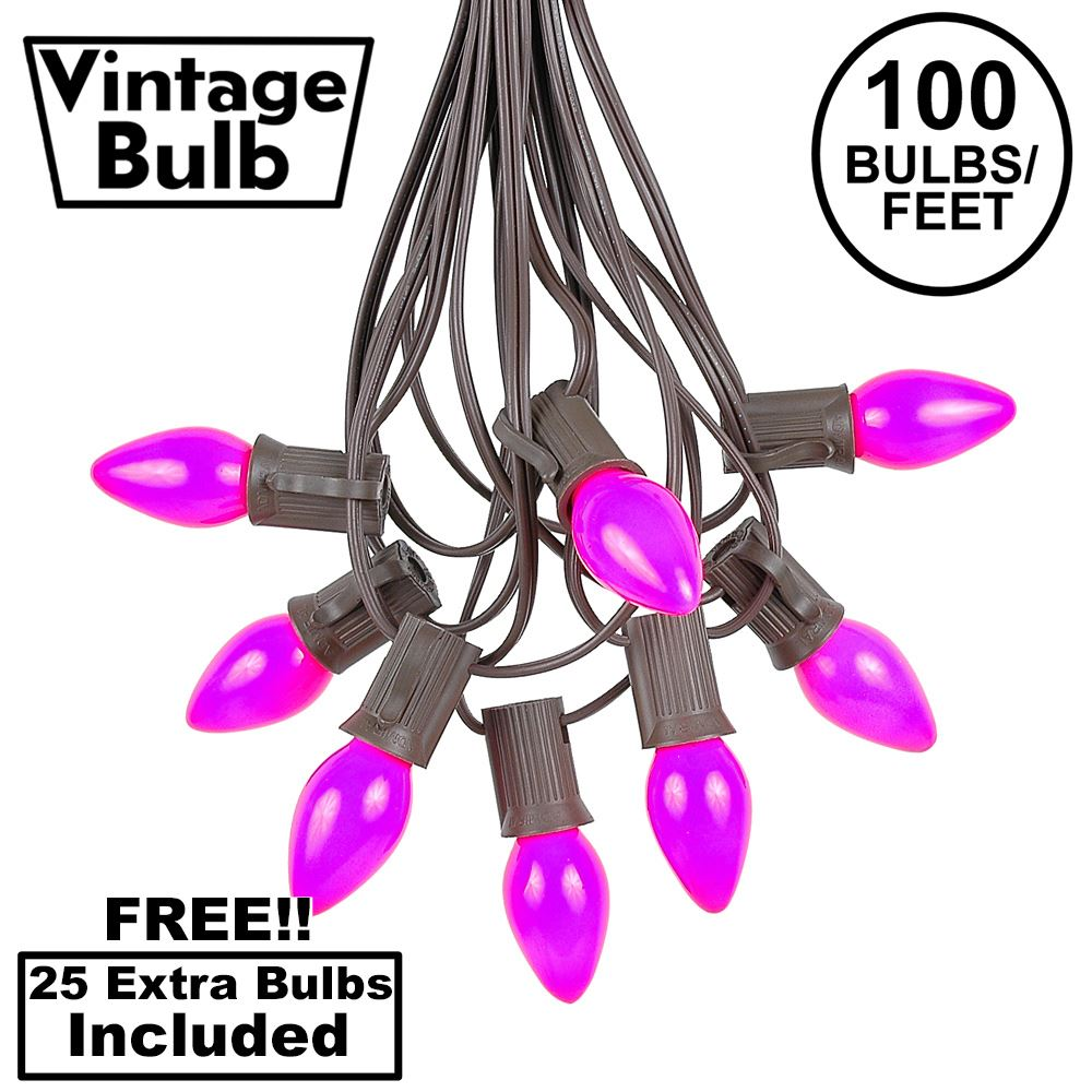 Picture of 100 C7 String Light Set with Purple Ceramic Bulbs on Brown Wire