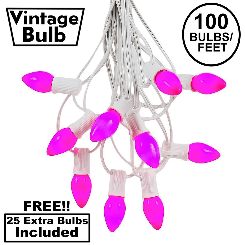 Picture of 100 C7 String Light Set with Purple Ceramic Bulbs on White Wire