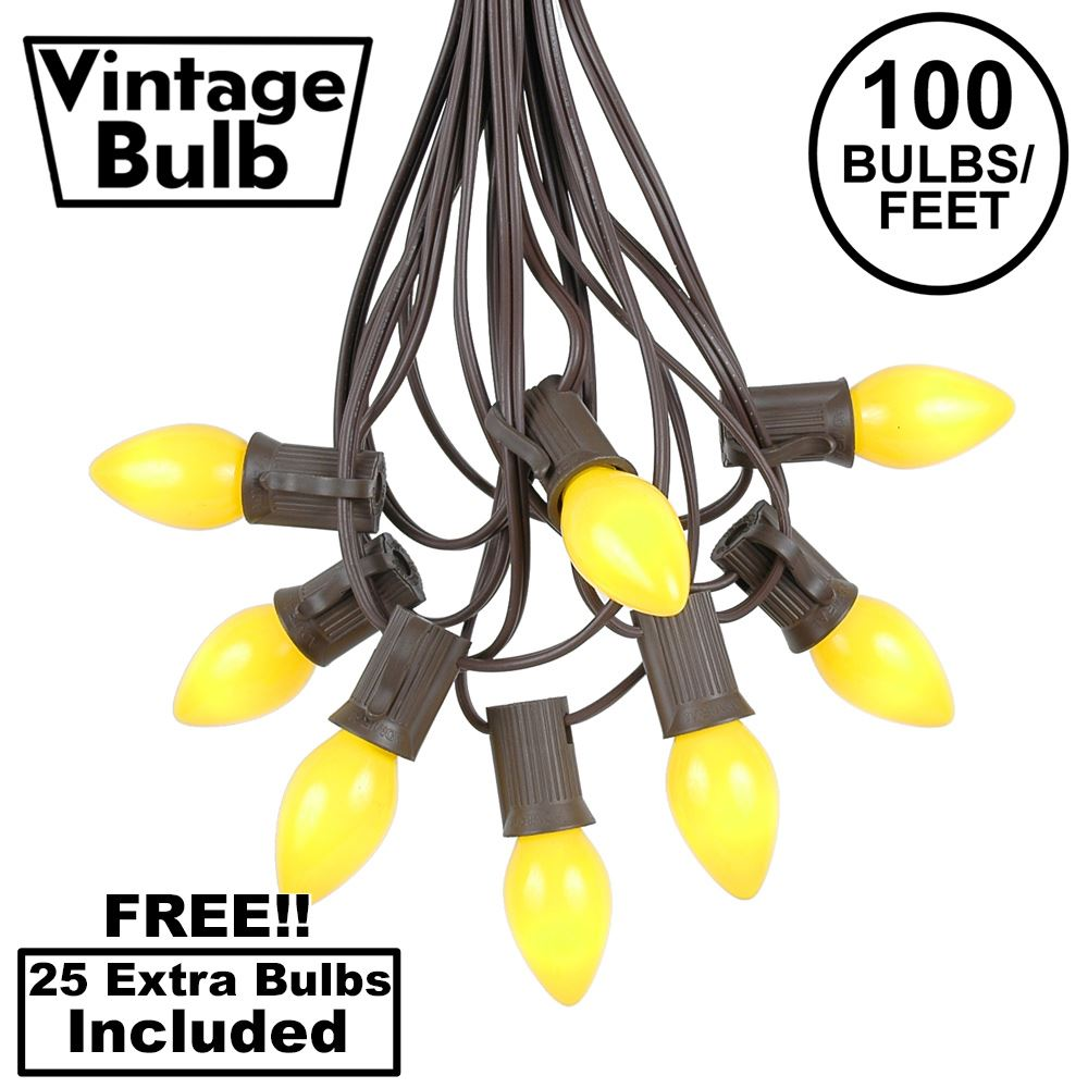 Picture of 100 C7 String Light Set with Yellow Ceramic Bulbs on Brown Wire