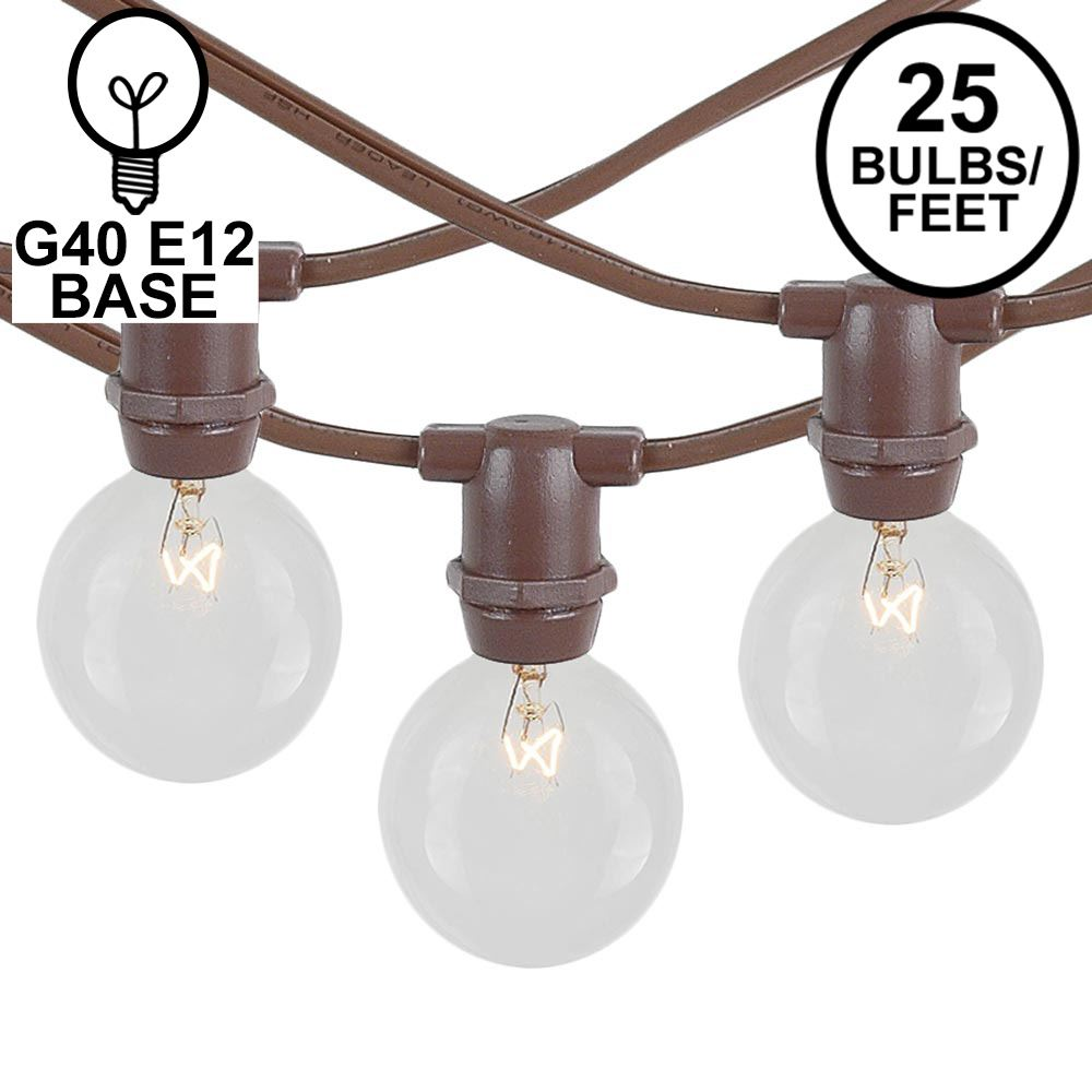 Picture of 25 Clear G40 Commercial Grade Candelabra Base Light Set - Brown Wire