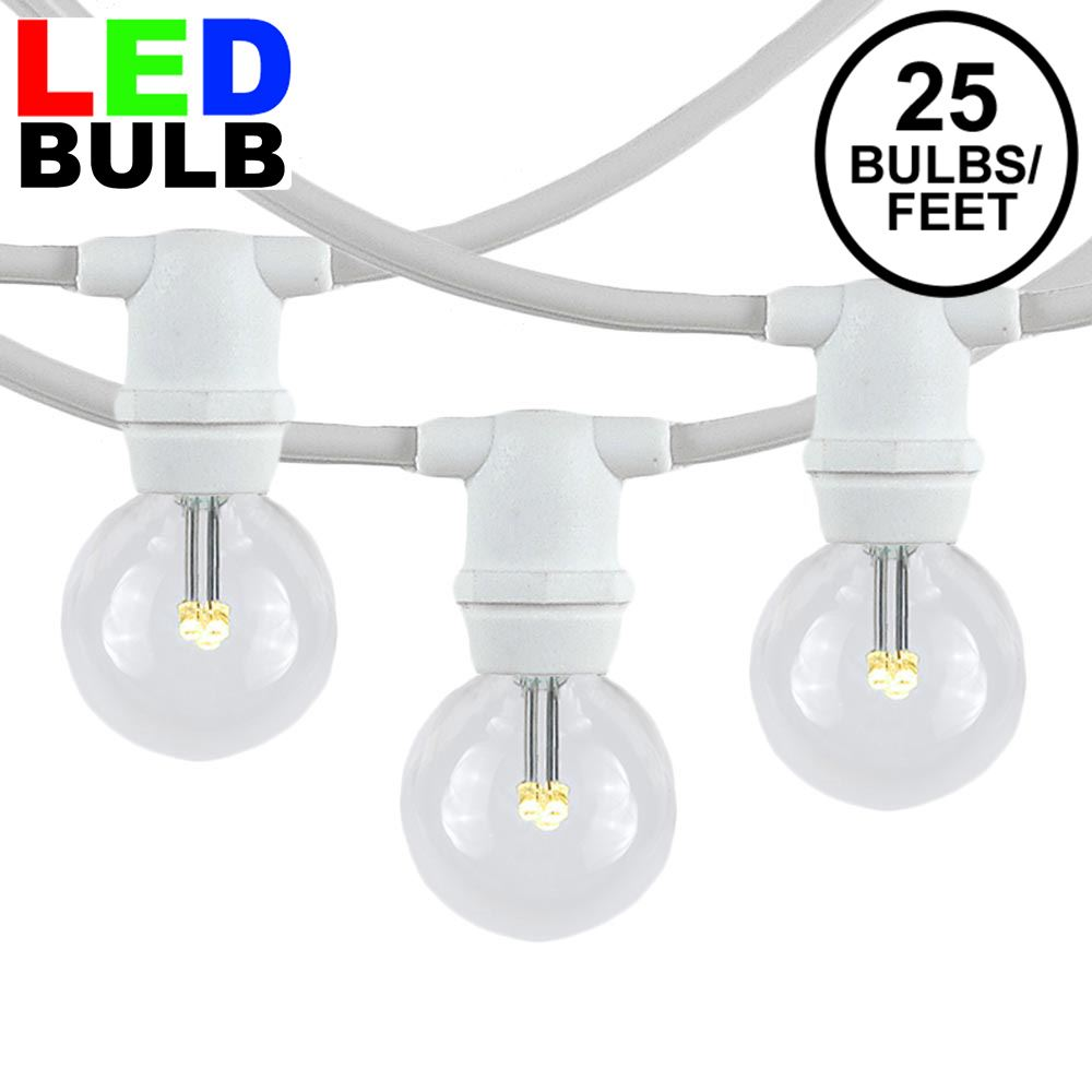 Picture of 25 Warm White LED G30 Commercial Grade Candelabra Base Light Set - White Wire