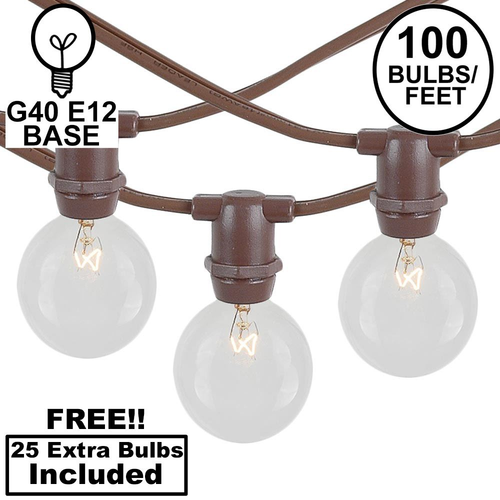 Picture of 100 Clear G40 Commercial Grade Candelabra Base Light Set - Brown Wire