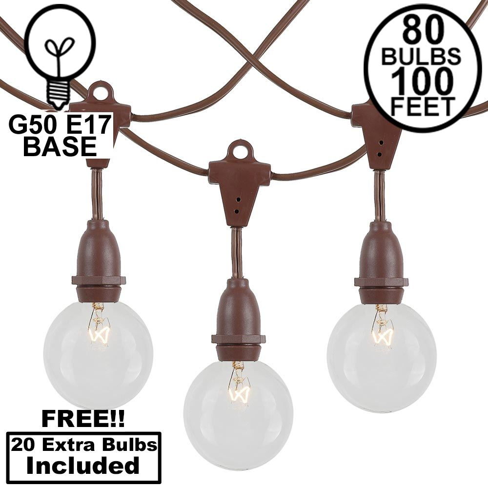 Picture of 80 Clear G50 Suspended Commercial Grade Intermediate Base Light Set - Brown Wire