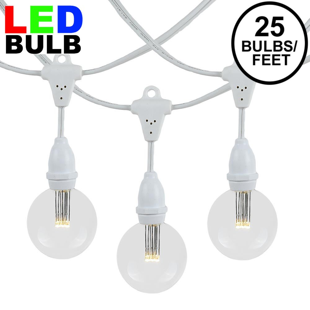 Picture of 25 Warm White G50 Suspended Commercial Grade Intermediate Base Light Set - White Wire