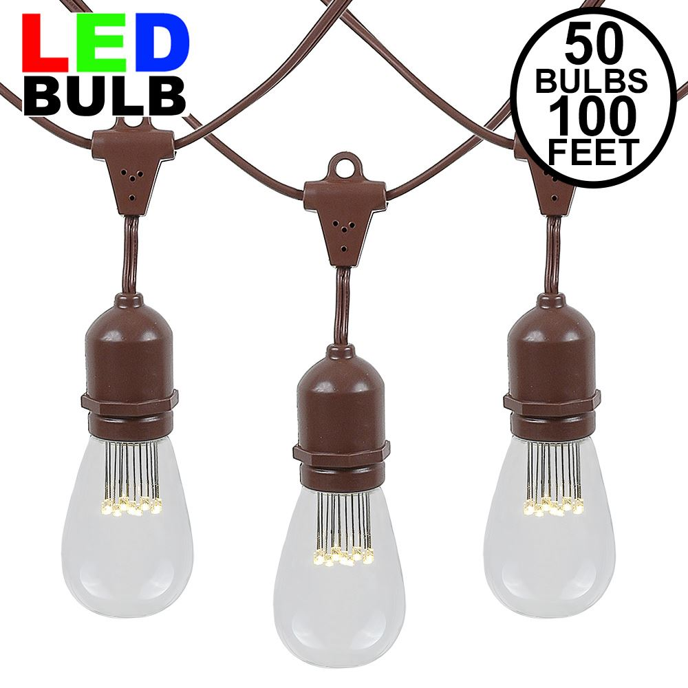 Picture of 50 LED S14 Warm White Commercial Grade Suspended Light String Set on 100' of Brown Wire