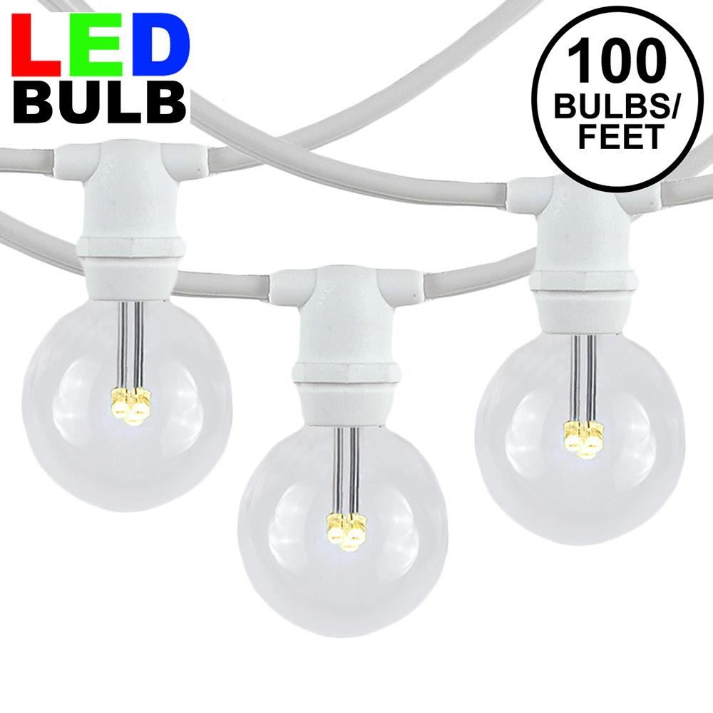 Picture of 100 Warm White LED G40 Commercial Grade Candelabra Base Light Set - White Wire