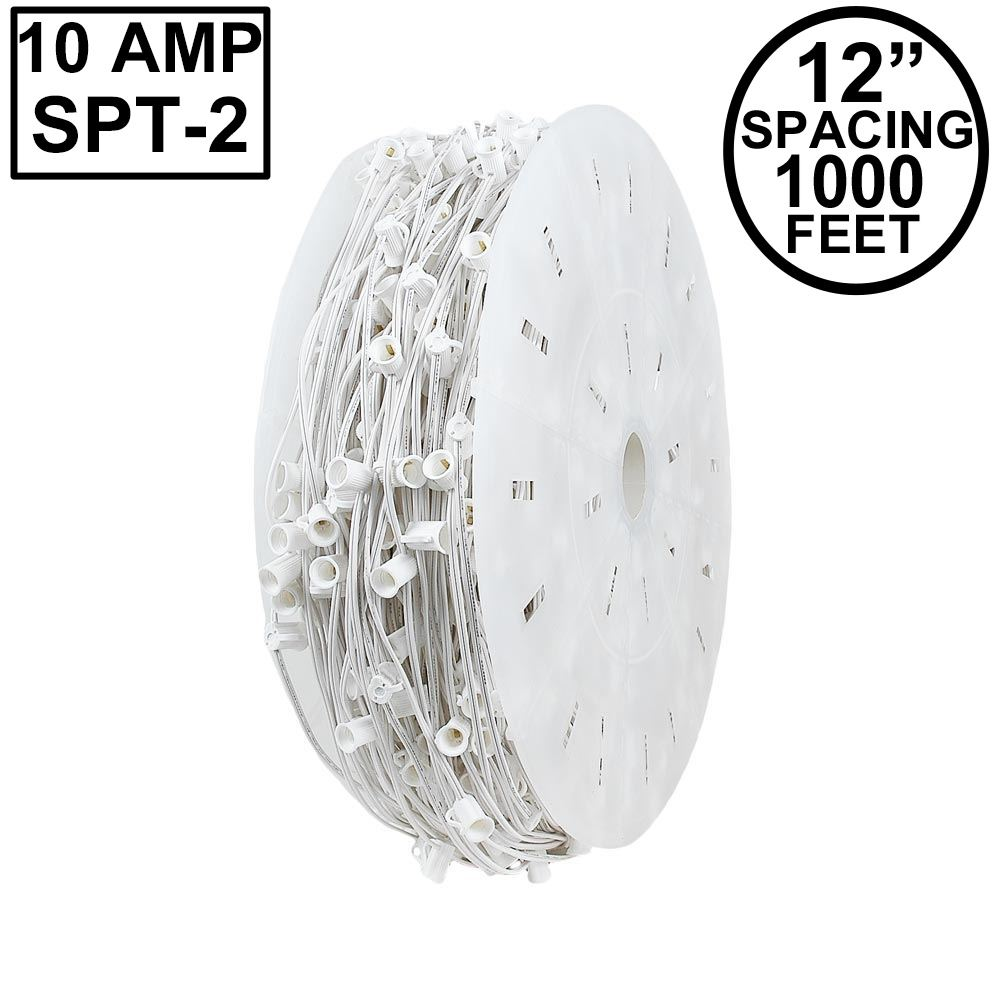 "Picture of 10 Amp C7 1000' Spool 12"" Spacing White Wire"