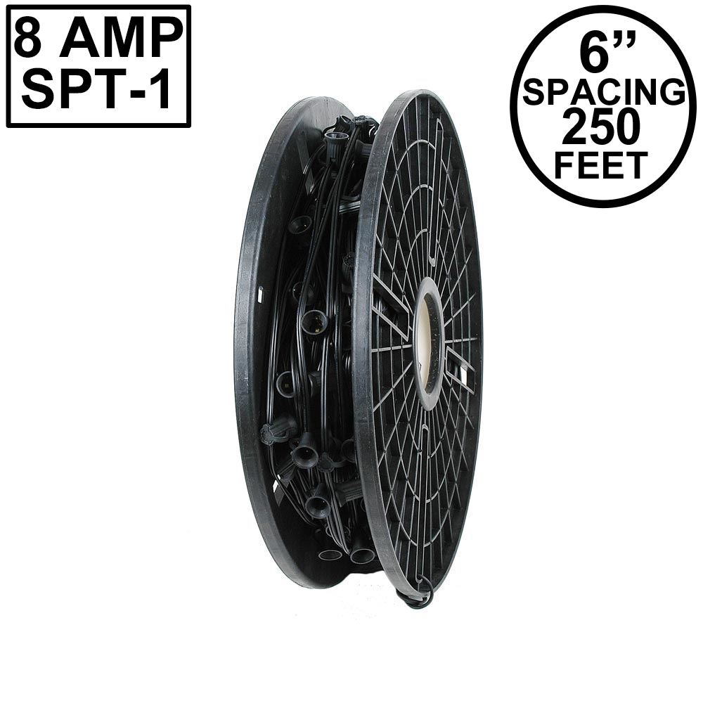 "Picture of C9 250' Spool 6"" Spacing 8 Amp Black Wire"