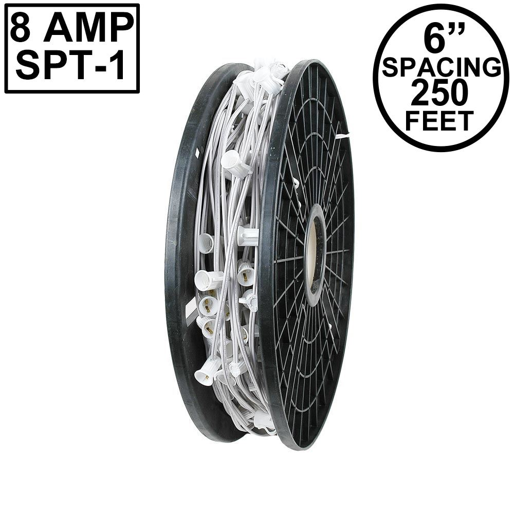 "Picture of C9 250' Spool 6"" Spacing 8 Amp White Wire"