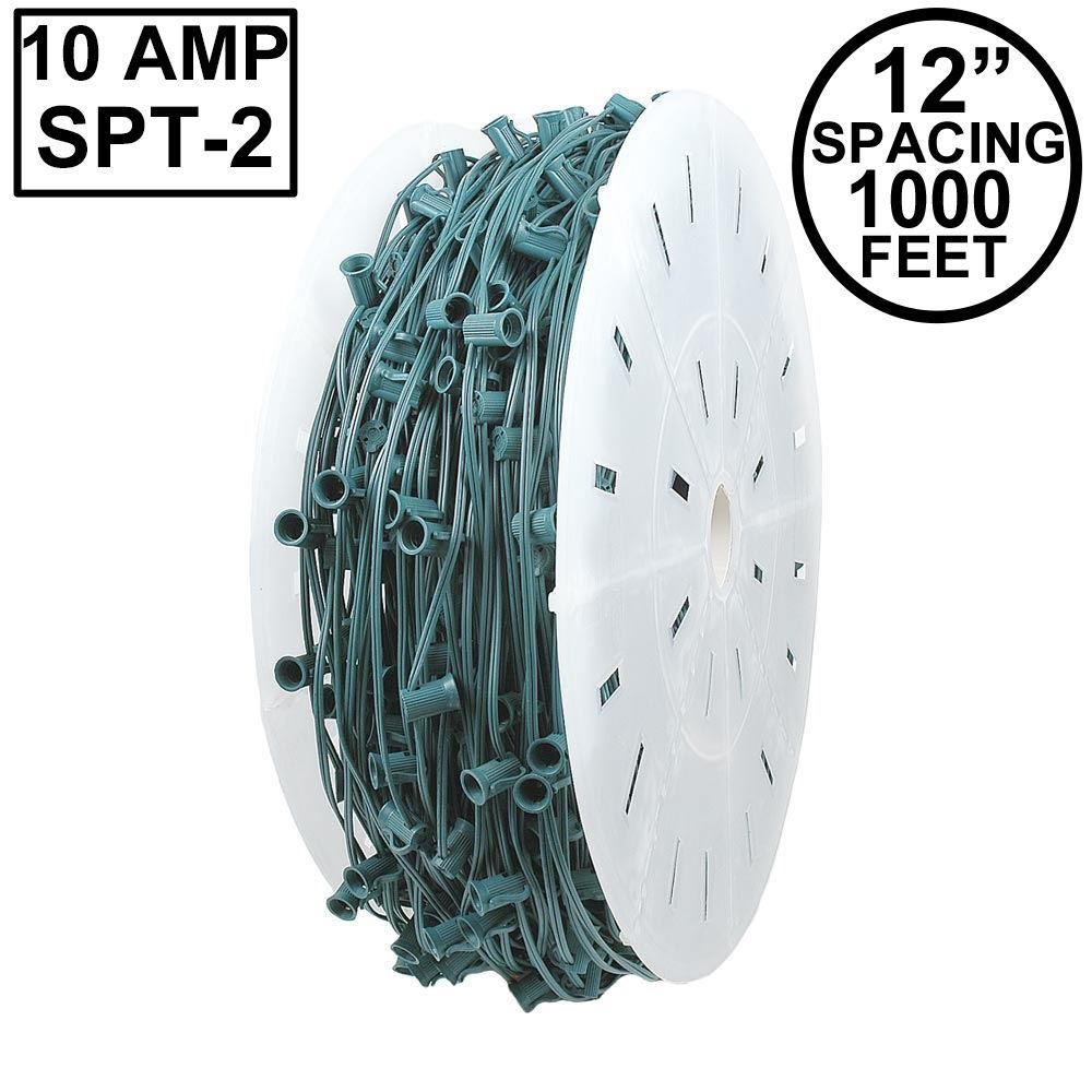 """Picture of 10 Amp C9 1000' Reel Green Wire 12"""" Spacing"""