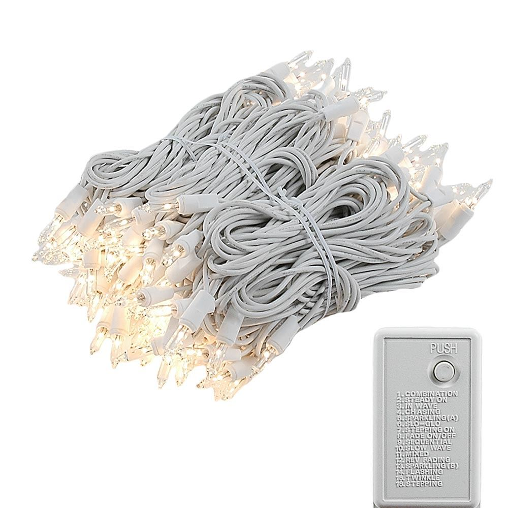 Picture of Clear Multi Function Chasing Christmas Lights White Wire