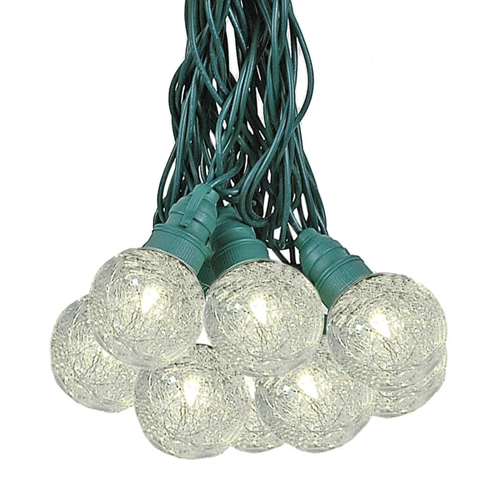 Picture of 25 Warm White Tinsel LED G40 Pre-Lamped String Lights Green Wire