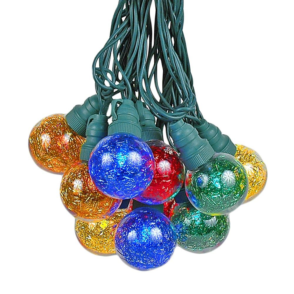 Picture of 25 Multi Tinsel LED G40 Pre-Lamped String Lights Green Wire