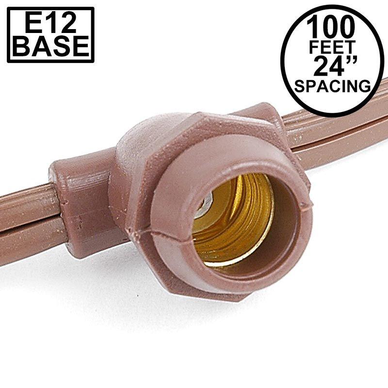 Picture of 100' Brown Commercial Grade Stringer 100 Candelabra (e12) Base Sockets