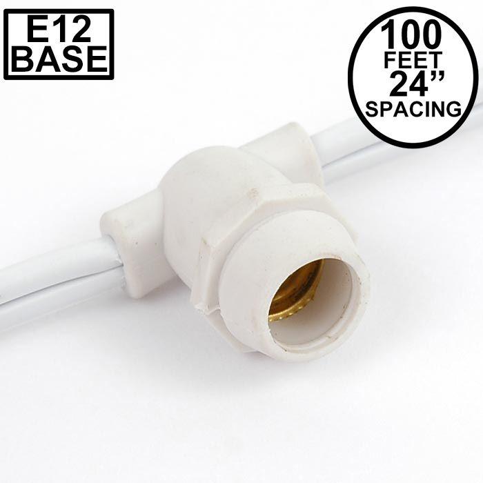Picture of 100' White Commercial Grade Stringer 100 Candelabra (e12) Base Sockets