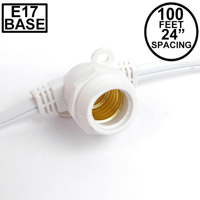 Picture of 100' White Commercial Grade Stringer 80 Intermediate (e17) Base Sockets