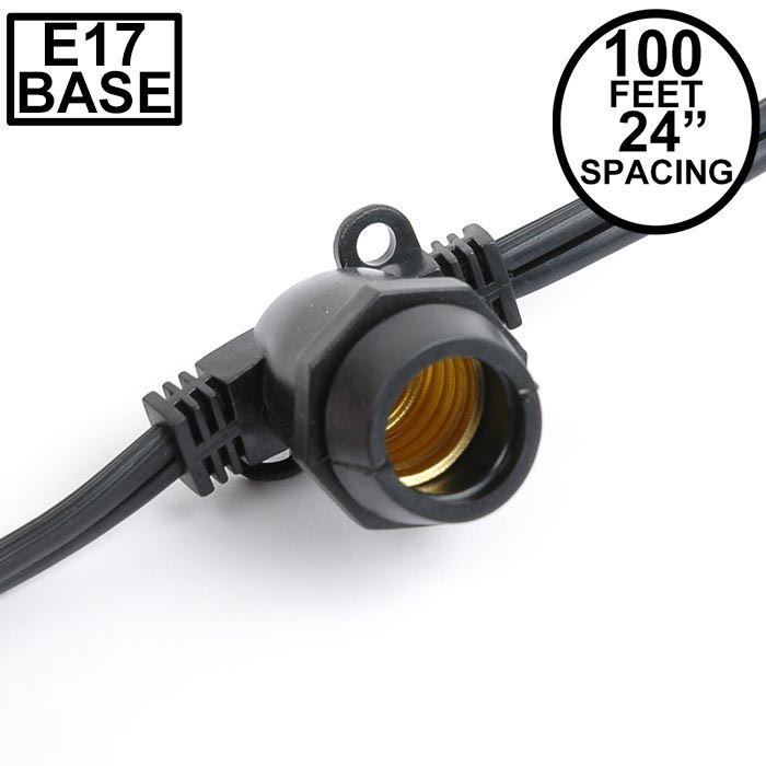Picture of 100' Black Commercial Grade Stringer 80 Intermediate (e17) Base Sockets