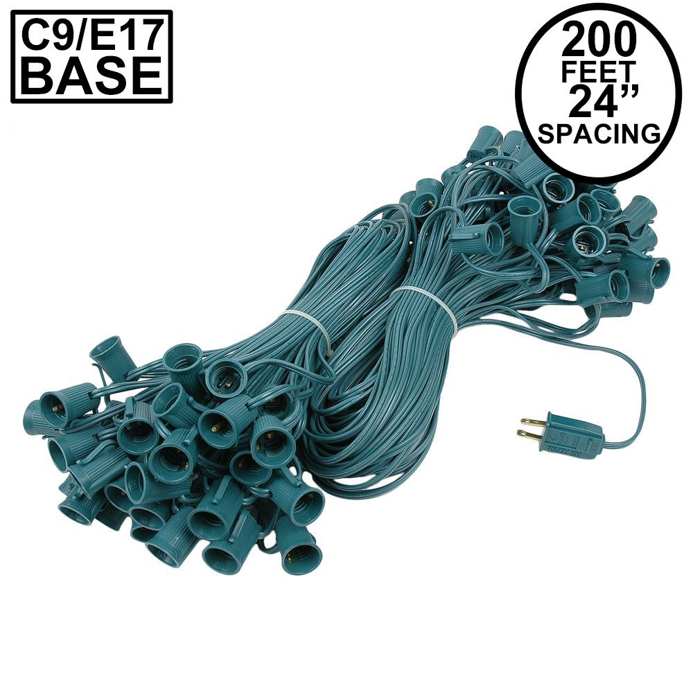 "Picture of C9 200' Stringer 24"" Spacing, 100 Sockets - Green Wire"