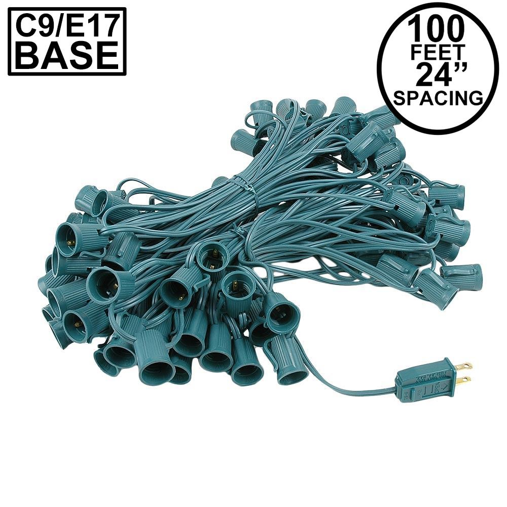 Picture of C9 100' String on Green Wire, 100 Sockets