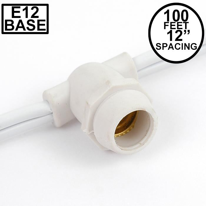 Picture of 100' White Commercial Grade Stringer 100 Candelabra (e12) Base Sockets